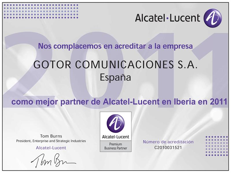 Alcatel-Lucent nombra a Gotor Comunicaciones mejor partner en 2011